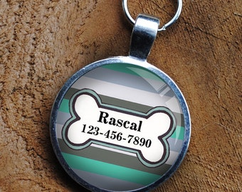 Pet iD Tag grey and blue striped colorful round Dog Tag 35mm round -  by California Mutts