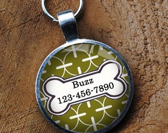 Pet iD Tag bright green and white patterned colorful round Dog Tag 35mm round -  by California Mutts
