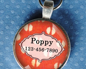 Pet iD Tag bright coral and white patterned colorful round Dog Tag 35mm round -  by California Mutts