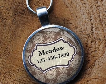 Pet iD Tag light brown and white patterned colorful round Dog Tag round -  by California Mutts