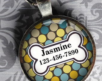 Pet iD Tag yellow and blue polka dotted colorful round Dog Tag 35mm round -  by California Mutts