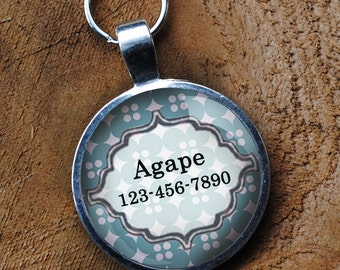 Pet iD Tag pastel smokey blue colorful round Dog Tag 35mm round -  by California Mutts