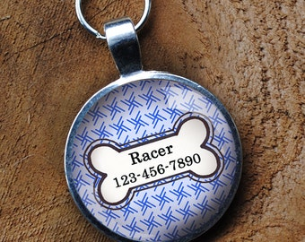 Blue and white Pet iD Tag colorful round Dog Tag 35mm round -  by California Mutts
