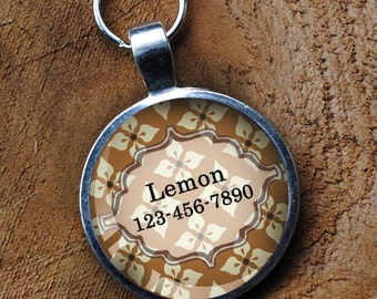 Light mustard yellow and white Pet iD Tag colorful round Dog Tag 35mm round -  by California Mutts