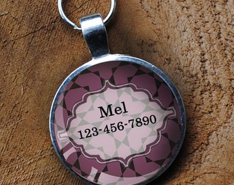 Purple patterned Pet iD Tag colorful round Dog Tag 35mm round -  by California Mutts