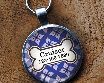 Blue and white patterned Pet iD Tag colorful round Dog Tag 35mm round -  by California Mutts
