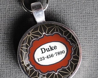 Red white and black patterned Pet iD Tag colorful round Dog Tag 35mm round  Pet tag-  by California Mutts