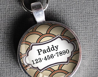 Red and cream patterned Pet iD Tag colorful round Dog Tag 35mm round  Pet tag-  by California Mutts