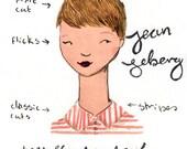 Style Icon Jean Seberg A5 Archival Art Print