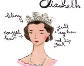 Style Icon Queen Elizabeth II Archival Art Print reserved for Ruth McSweeney
