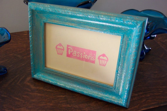 Turquoise and Glitter Painted 4x6 Frame