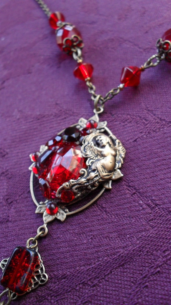 Ruby Treasures of a Forgotten Princess Ooak Handmade Layered Brass Fantasy Necklace