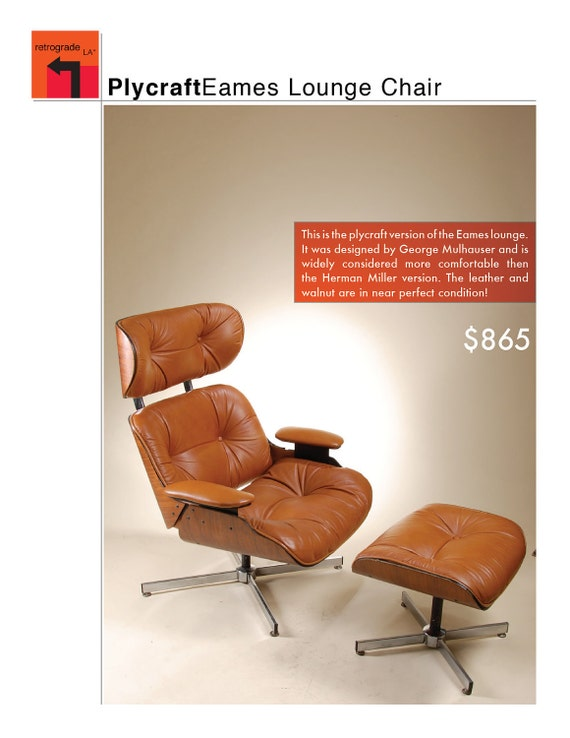 Tan Leather and Walnut Eames Lounge Chair with Ottoman
