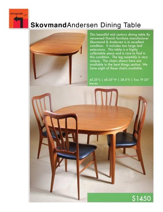 Danish Mid Century Modern Dining Table by Skovmand Andersen