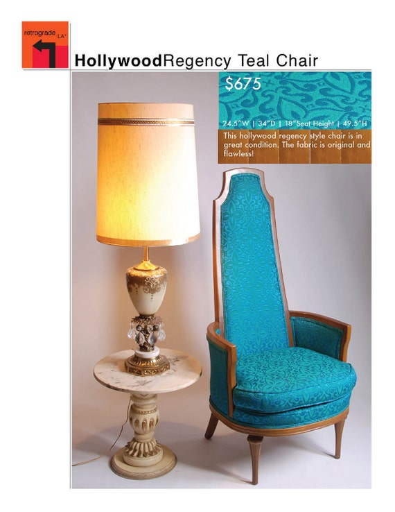 Mid Century Hollywood Regency Style Teal Chair by MotleyLA  : il570xN342959735 from etsy.com size 570 x 738 jpeg 77kB