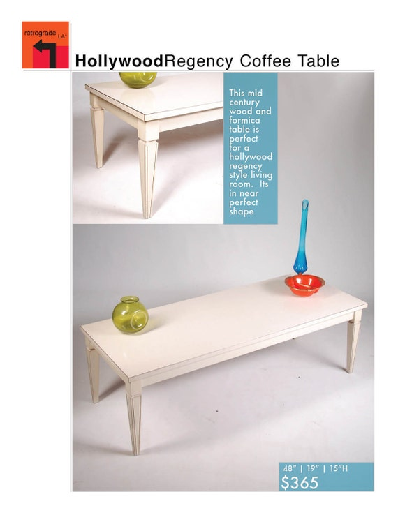 Mid Century Hollywood Regency White Coffee Table
