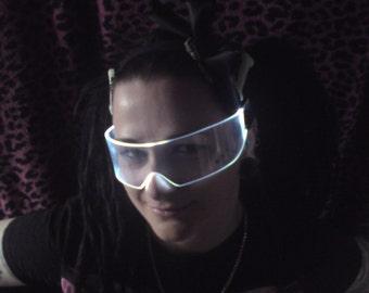 The Original Illuminated Cyber goth visor Ultra white like cyberdog