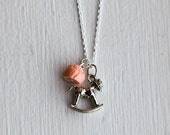 Rocking Horse Necklace- Pony Charm Jewelry- 925 Sterling Silver- Vintage Style- Pink- Custom Resin Flower Rose
