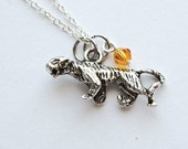 Custom Tiger Necklace- 925 Sterling Silver Chain- Yellow Orange- Animal Necklace- Swarovski Crystal