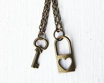 Friendship Key & Lock Necklaces- Bronze Love Heart- Best Friends Forever -bff- Anniversary, Love, Engagement