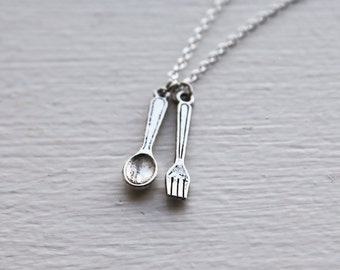 Fork and Spoon Necklace- 925 Sterling Silver Chain- Charm Jewelry- Funny Clever Unique Eccentric Gifts- Last Minute- Under 20