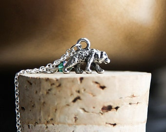 Bear Necklace- 925 Sterling Silver oe silver tone Chain- Ever Green Swarovski Crystal- Grizzly Bear Necklace- Honey Bear