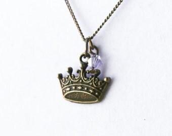 Princess Queen Crown Charm Necklace- Custom Birthstone- Lost Love- Swarovski Crystal