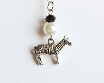 Zebra Necklace- 925 Sterling Silver or Silver Tone Chain- Black & White- Animal Necklace- Swarovski Crystal and Pearl