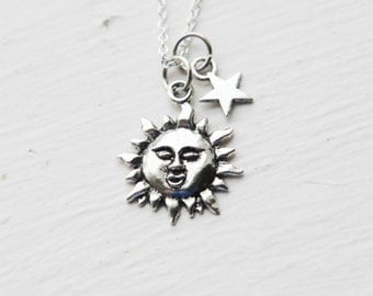 You Are My Sunshine Necklace- Sun Star Charm Jewelry- 925 Sterling Silver Chain- Last Minute Gift