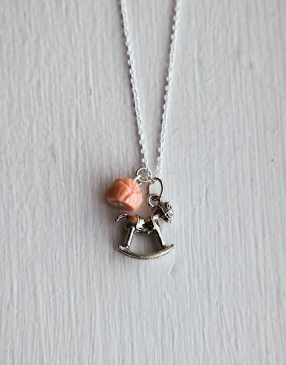 Rocking Horse Necklace- Pony Charm Jewelry- 925 Sterling Silver or Silver tone chain- Vintage Style- Pink- Custom Resin Flower Rose