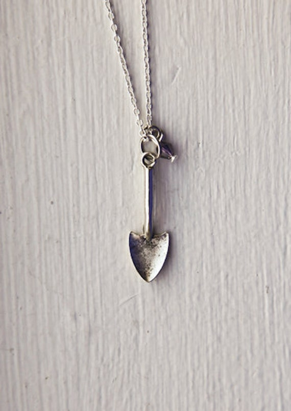 Shovel Necklace- Custom Birthstone Color- 925 Sterling Silver Chain- Funny Clever Unique Eccentric Gifts