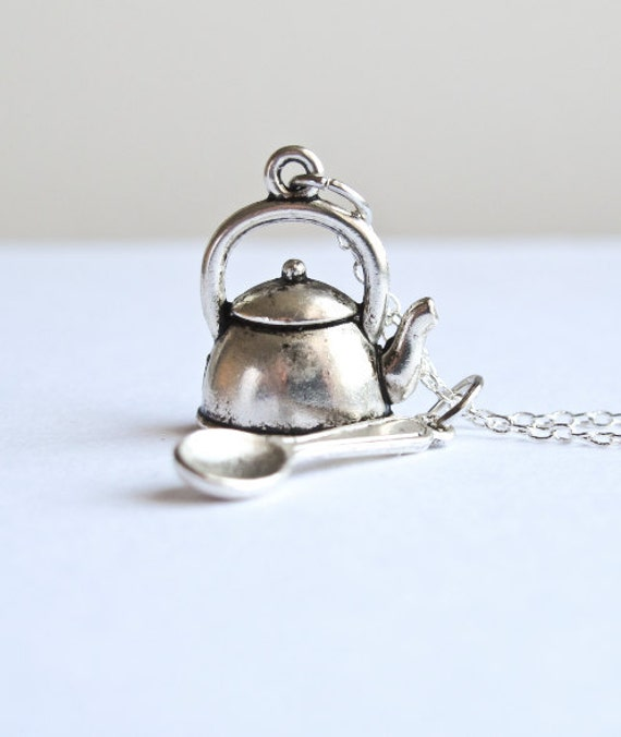 Teapot & Spoon Kitchen Necklace- Alice in Wonderland- Tea Time Jewelry- 925 Sterling Silver