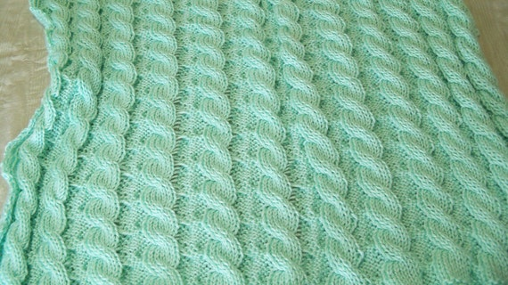 KNITTING PATTERN - Simon's Reversible Cable Blanket Pattern - PDF file, instant download