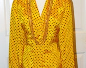 RESERVED for Miss Urbanita -HOT yellow blouse by Russ, 80s vintage, size 8