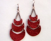 Gypsy Moon upcycled Leather Earrings in Golden Red