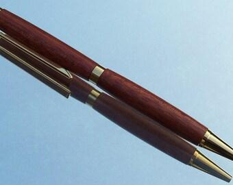 Handturned Wooden Ball-point Slimline Pen - Bloodwood
