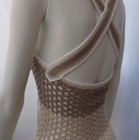 Hand Crochet cotton lace womens summer dress  italian style