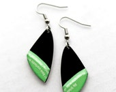 recycled vinyl record earrings. black and light green earrings. recycled jewelry. small earrings. funky jewelry.