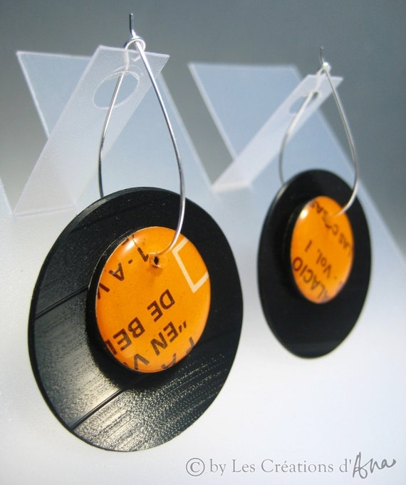 recycled vinyl record earrings. 3 in 1. black and orange earrings. recycled jewelry. disc earrings. funky jewelry. one of a kind.