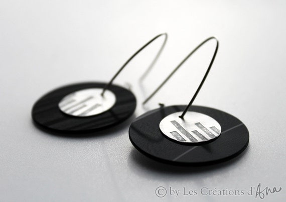vinyl record and oxidized silver jewelry, unique artisan jewelry, modern silver earrings,recycled jewelry, matte silver,disc earrings