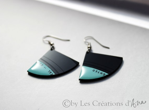 one of a kind recycled vinyl record jewelry. black and light aqua earrings. recycled jewelry. small earrings. funky earrings