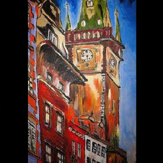 ORIGINAL Acrylic Art Painting City at Night -Astrological clock -Zodiac-PRAGUE 30 x 40 Czech Republic Europe Cityscape on Stretched Canvas