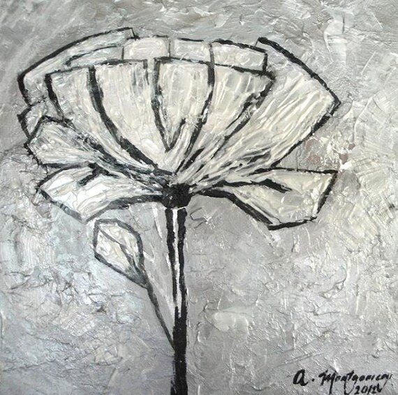 """ORIGINAL Acrylic Abstract Flower Painting 12""""x 12""""Impasto Textured Pearl White Silver on Stretched Canvas Ready to Hang Custom colors sizes"""