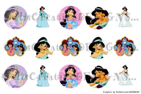 Princess Jasmin digital image sheet for bottlecap, crafts, scrapbooking etc..No.053