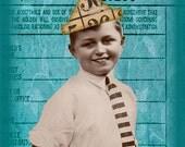 Vintage Birthday Boy - Blank Card