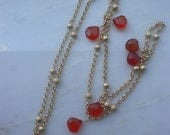 Bright Orange Chalcedony Necklace - Linda