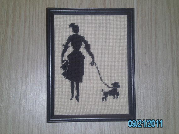 KQQL Lady & Her Poodle EMBROIDERY Framed PICTURE
