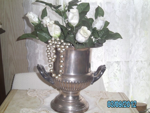 Beautiful Vintage French Style Large and Heavy Silver URN Shaped VASE