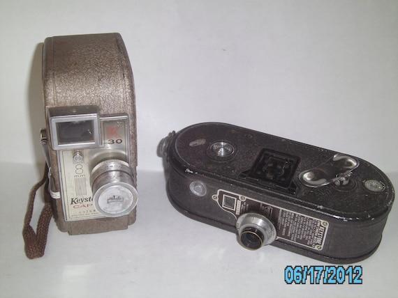 Vintage Movie Camera Lot KEYSTONE Capri Deluxe 8mm 1957 & KEYSTONE 8mm Model K-8 1930s