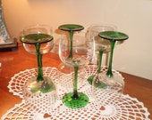 6 stemmed green glass goblets wine stemware
